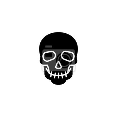 Koncepcja czarna czaszka ikony. Czaszka płaski symbol wektor, znak, ilustracja.