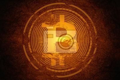Koncepcja górnictwa waluty Crypto. Bitcoin (BTC) znajdujący się pod twardą skałą i świecący złotym kolorem flary jako skarb o wysokiej wartości.