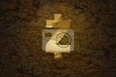 Koncepcja górnictwa waluty Crypto. Moneta ZCash (ZEC) znaleziona pod twardą skałą i świecąca złotym kolorem flary jako skarb o wysokiej wartości.