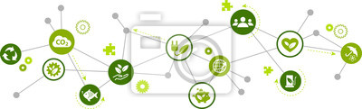 Plakat koncepcja ikony zrównoważonego rozwoju: energia odnawialna, ekologia, ochrona środowiska - ilustracji wektorowych
