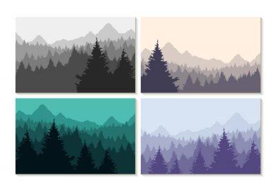 Plakat Koncepcja ilustracji zimowy krajobraz las zestaw