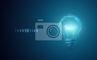 Plakat Koncepcja innowacji. Żarówka w nowoczesnym stylu wielobocznym z lekkim efektem