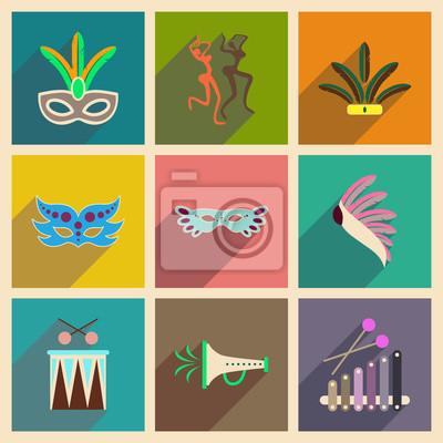 Plakat Koncepcja płaskich ikon z długim cieniem brazylijskiego karnawału