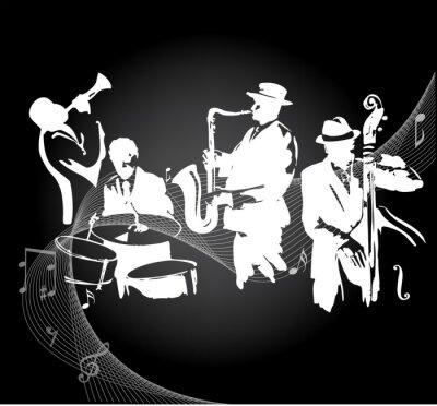 Plakat Koncert jazzowy czarnym tle