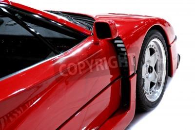 Plakat Koniec boczne i przednia z czerwonym sportowym samochodem