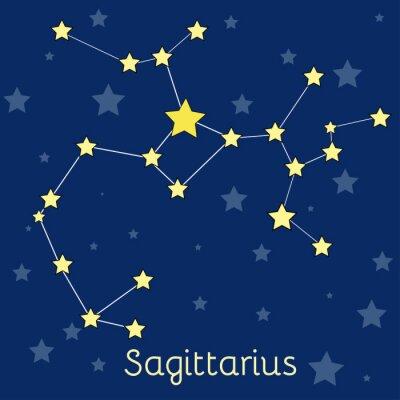 Plakat konstelacji Strzelca Ogień zodiaku z gwiazd w kosmosie. Vector obraz