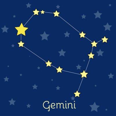 Plakat konstelacji zodiaku Gemini powietrza z gwiazd w kosmosie. Vector obraz