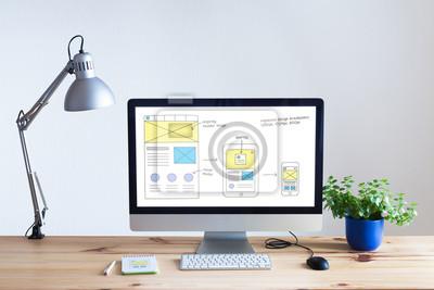 Plakat Konstrukcja szkicu na stronie internetowej komputera