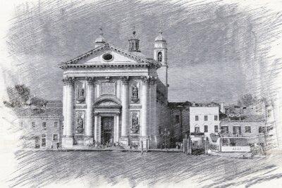 Plakat Kościół Santa Maria del Rosario we Włoszech, w Wenecji. Naszkicować