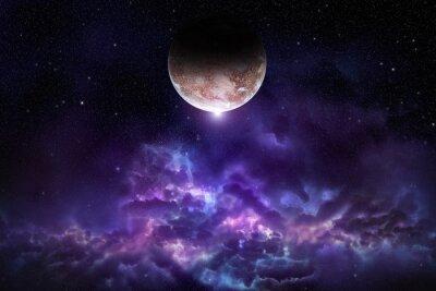 Plakat Kosmos sceny z planet, mgławic i gwiazd w przestrzeni