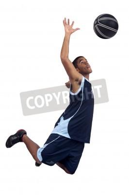 Plakat Koszykarz pojedyncze w kolorze białym