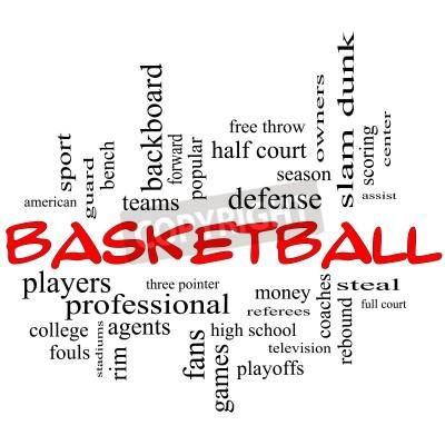 Plakat Koszykówka Concept Word Cloud w czerwonych czapkach z wielkich kategoriach takich jak straż, kraść, odbicia, slam dunk, centrum, pomagać, gry i wiele innych.