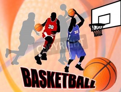 Plakat Koszykówka na działania graczy piękne abstrakcyjne tło. Plakat ilustracja klasycznego koszykówki