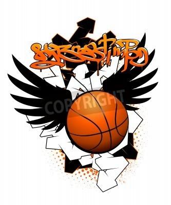 Plakat Koszykówka obraz graffiti
