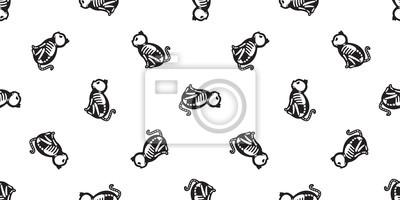 Kot bez szwu Halloween wektor wzór Czaszka szkielet kości Duch szalik na białym tle tło tapeta powtórzyć