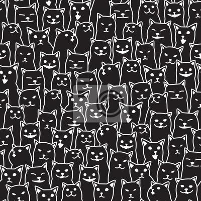 Kot kotek rasy doodle wektor wzór bezszwowe na białym tle tapeta tło czarny