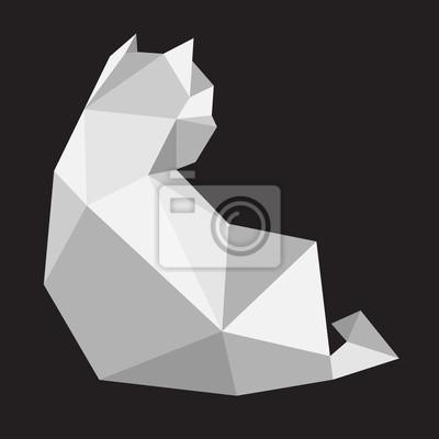 Kot kotek wektor ikona ilustracja geometryczne sztuki wielokąta kreskówka