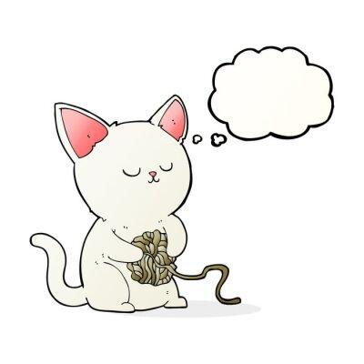 Plakat kot kreskówka gra w piłkę przędzy z bańki myśli