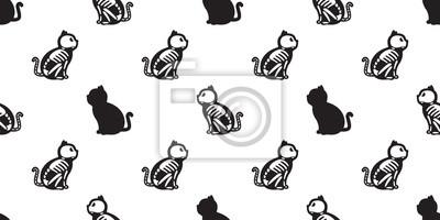 Kot na białym tle Halloween kot Czaszka szkielet kości Duch bezszwowe tapeta tło wzór