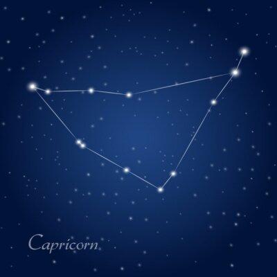 Plakat Koziorożec gwiazdozbiór zodiakalny na rozgwieżdżone niebo