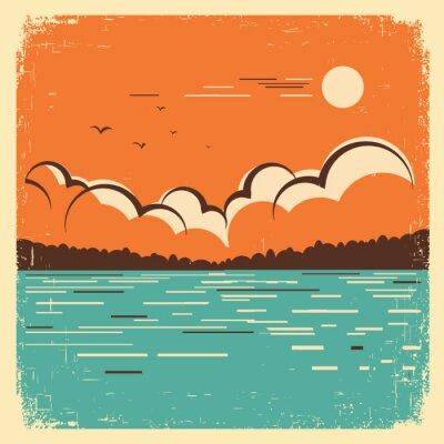 Plakat krajobraz z błękitne duże jezioro na stary plakat