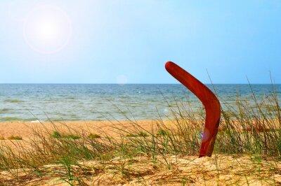 Plakat Krajobraz z bumerang na zarośniętej piaszczystej plaży.
