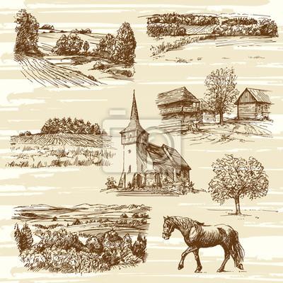 Plakat krajobrazu wiejskiego i domy - ręcznie rysowane kolekcji