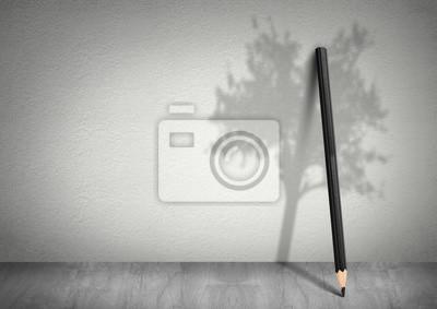 Plakat Kreacja pojęcie ekologii, ołówek z cieniem drzewa