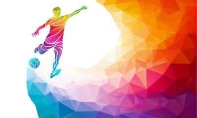Plakat Kreacja sylwetka piłkarz. Piłkarz kopie piłkę w modnej streszczenie kolorowe tęczy wielokąta powrotem