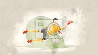 Plakat Kreatywny streszczenie piłkarz. Bramkarz piłkarski łapie piłkę. Tło akwarela. Styl retro