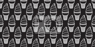 Kręconego lody rożka gofra filiżanki czekoladowego waniliowego arbuza słodkiego cukierku wektorowy bezszwowy wzór odizolowywał tapetowego tła czerń
