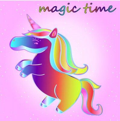 Plakat kreskówka neon jednorożca z gwiazdami na różowym tle gradientu - czas przygody i czas magii
