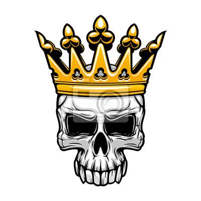 Król czaszka w koronie królewskiej złota
