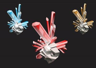 Kryształy różnych kolorach i udaru rubinowym topaz, szafir