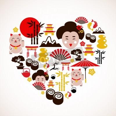 Plakat Kształt serca z ikon Japonii