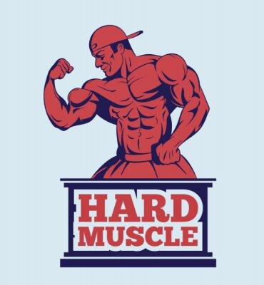 Plakat kulturysta fitness model stwarzające logo. Godło mięśni człowieka