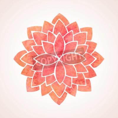 Plakat Kwiat lotosu akwarela czerwony wzór na białym tle