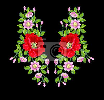 Kwiatu maku różany haft dla mody czarna