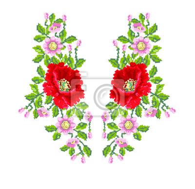 Kwiatu maku wzrosła hafty mody białym