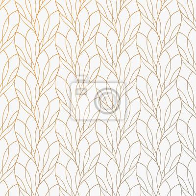 Plakat Kwiatu płatek lub liścia geometryczny deseniowy wektorowy tło. Powtarzająca się tekstura tej linii na owalnym kształcie z efektem gradientu. Wzór jest czysty, nadaje się do tapet, tkanin, drukowania.
