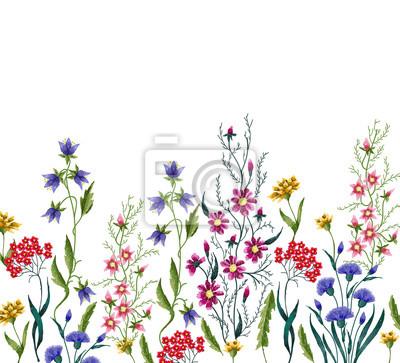 Kwiaty haftowane. Haftowane elementy projektu z kwiatów i liści na białym tle.