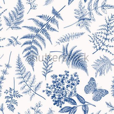 Plakat Kwiecisty bezszwowy wzór w rocznika stylu. Różne liście paproci, jagód i motyli. Wektorowa botaniczna ilustracja. Niebieski.