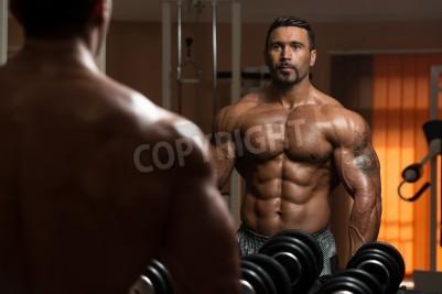 Plakat Łacińska Kulturysta wypracowanie Biceps - Stężenie hantle Loki