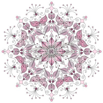 Plakat Lacy pastel round vintage pattern on white  vector