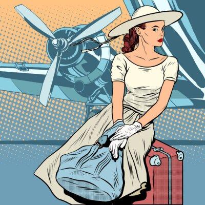 Plakat Lady podróżnego na lotnisku