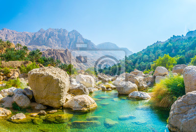 Plakat Lagoon with turqoise water in Wadi Tiwi in Oman.