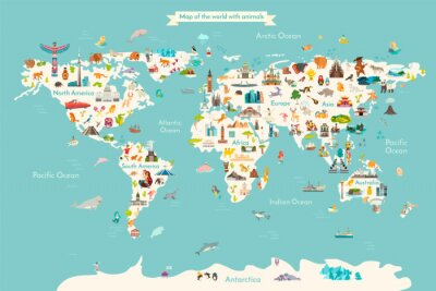 Plakat Landmarks world map vector cartoon illustration. Cartoon globe vector illustration. landmarks, signs, animals of countries and continents. Abstract map for learning. Poster, picture, card
