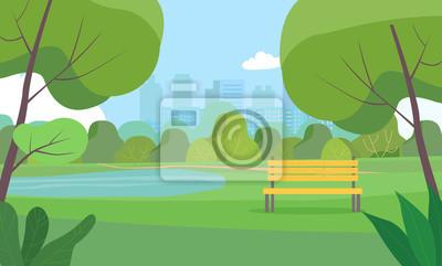 Plakat Landscape in city park . Vector flat style Illustration.