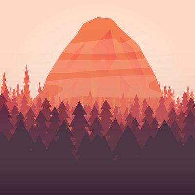 Plakat Lasów i górskich słońca ilustrowane tle