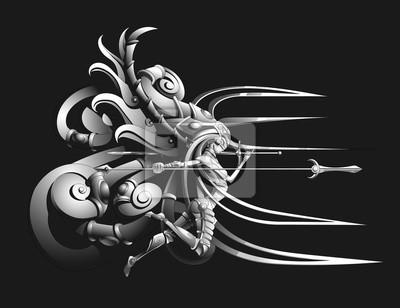 latające Valkyrie z włócznią i mieczem